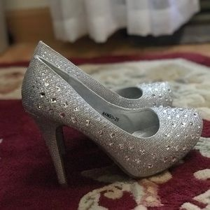 High heels, sparkly, silver
